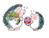 Easter Exchange Hedgehogs, Wood Mounted Rubber Stamp PENNY BLACK - NEW, 3617J