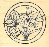 Easter Lilies Circle, Wood Mounted Rubber Stamp NORTHWOODS - NEW, C8464