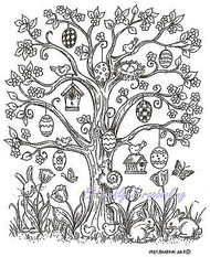 Easter Tree Eggs Bunnies, Wood Mounted Rubber Stamp NORTHWOODS, NEW - P9008