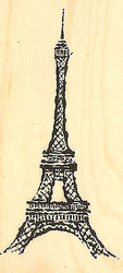 Eiffel Tower Travel Wood Mounted Rubber Stamp Impression Obsession C4072 NEW