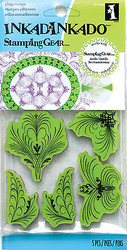 Elegant Flourish Stamping Gear Unmounted Cling Rubber Stamp Set Inkadinkado New