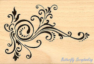 Elegant Scroll Art Wood Mounted Rubber Stamp STAMPENDOUS Stamp P248 New