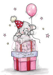 Elephant Bela Party Balloon Unmounted Rubber Stamp Wild Rose Studio # CL321 New