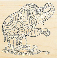 ELEPHANT Pen Pattern Wood Mounted Rubber Stamp Stampendous Stamp W146 NEW