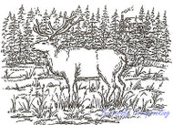 ELK Cabin Forest Scene Wood Mounted Rubber Stamp NORTHWOODS Stamp P1747 New