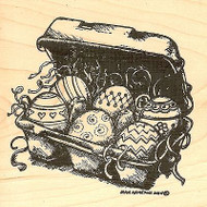 Eva's Easter Egg Carton, Wood Mounted Rubber Stamp NORTHWOODS - NEW, PP9715