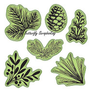 Evergreen Set Stamping Gear 6 Unmounted Cling Rubber Stamp Set Inkadinkado New