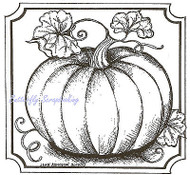 Fall Harvest Pumpkin Wood Mounted Rubber Stamp Northwoods Rubber Stamp New