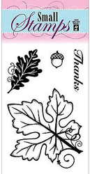 FALL LEAVES Acorn 4 Small Stamps Clear Unmounted Rubber Stamp Set HOTP 1126 New