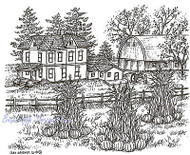 Fall Pumpkin Farm Scene Wood Mounted Rubber Stamp Northwoods Rubber Stamp New