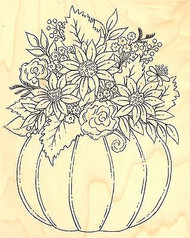 FALL PUMPKIN FLOWERS Wood Mounted Rubber Stamp Impression Obsession H16143 NEW