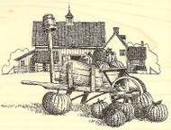 Fall Pumpkin Wheelbarrow Barn Wood Mounted Rubber Stamp Impression Obsession NEW