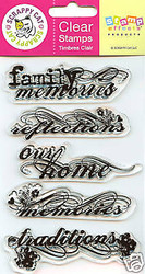 FAMILY MEMORIES Clear Unmounted Rubber Stamps Set SCRAPPY CAT NEW