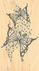 Fancy Butterfly Wood Mounted Rubber Stamp Impression Obsession Hannah Davies NEW