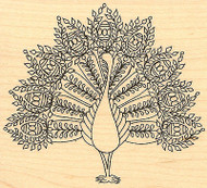 Fancy Peacock Bird Wood Mounted Rubber Stamp Impression Obsession NEW