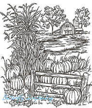 Farm Cornstalks & Pumpkins Wood Mounted Rubber Stamp Northwoods Rubber Stamp New