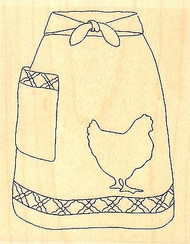 Farm Fresh Apron, Wood Mounted Rubber Stamp IMPRESSION OBSESSION - NEW, E9606