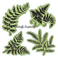 Ferns Leaf Set Stamping Gear 4 Unmounted Cling Rubber Stamp Set Inkadinkado New