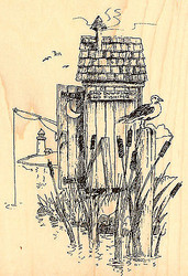 Fishing Hole, Wood Mounted Rubber Stamp IMPRESSION OBSESSION - NEW, H1465