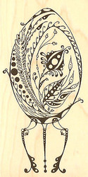 Floral Easter Egg Wood Mounted Rubber Stamp Impression Obsession NEW
