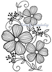 Flower Blossom Trio Cling Unmounted Rubber Stamp MAGENTA C14641-M NEW