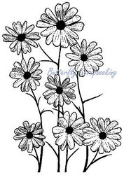Flowers Black Eyed Susan Cling Unmounted Rubber Stamp MAGENTA C0724-N NEW
