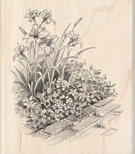 Flowers On Walkway Wood Mounted Rubber Stamp INKADINKADO NEW