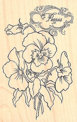 FLOWERS Pansy Spray Wood Mounted Rubber Stamp STAMPENDOUS Stamp P264 New