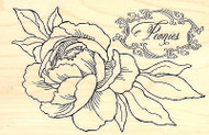 FLOWERS Peony Spray Wood Mounted Rubber Stamp STAMPENDOUS Stamp P265 New