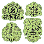 Folk Winter Stamping Gear Unmounted Cling Rubber Stamp Set Inkadinkado New