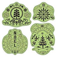 Folk Winter Stamping Gear Unmounted Cling Rubber Stamp Set Inkadinkado New