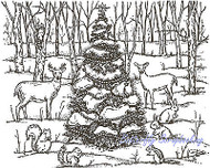 Forest Christmas Wildlife Scene Wood Mounted Rubber Stamp NORTHWOODS P2985 New