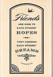 Friends Hopes Dreams Wood Mounted Rubber Stamp Brenda Walton by Inkadinkado NEW