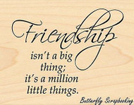 Friendship Text, Wood Mounted Rubber Stamp PENNY BLACK - NEW, 4176H