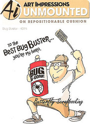 FUNNY Men Bug Buster Set Cling Unmounted Rubber Stamps Art Impressions 4374 NEW