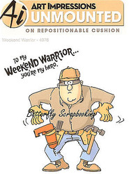 FUNNY Men Warrior Set Cling Unmounted Rubber Stamps Art Impressions 4378 NEW