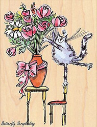 Furry Florist, Wood Mounted Rubber Stamp PENNY BLACK - NEW, 4389K