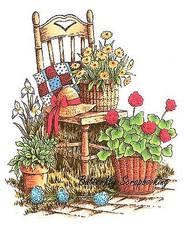 Garden Chair Flower Scene Cling Unmounted Rubber Stamp C.C. Designs JD1043 New