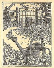 Garden Gate Scene Wood Mounted Rubber Stamp Impression Obsession NEW