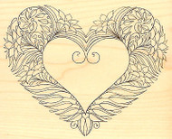 GARDEN HEART Wood Mounted Rubber Stamp Impression Obsession G2293 NEW