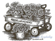 Gerbera Daisy Wagon, Wood Mounted Rubber Stamp NORTHWOODS - NEW, M9769