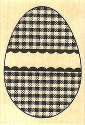 Gingham Egg, Wood Mounted Rubber Stamp IMPRESSION OBSESSION - NEW, C9621