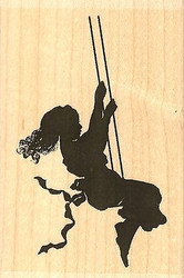 Girl Swing, Wood Mounted Rubber Stamp IMPRESSION OBSESSION - NEW, E13307