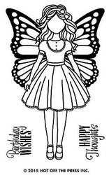 GIRL WITH WINGS 3 Small Stamps Clear Unmounted Rubber Stamp Set HOTP 1182 New
