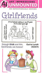 GIRLFRIENDS Birthday Unmounted Rubber Stamp Set W Cushion AI Art Impressions NEW