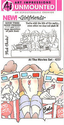 GIRLFRIENDS Movies Unmounted Rubber Stamp Set W Cushion AI Art Impressions NEW