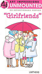 GIRLFRIENDS UMBRELLA Unmounted Rubber Stamp On Cushion AI Art Impressions NEW