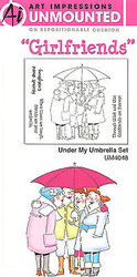 GIRLFRIENDS Umbrella Unmounted Rubber Stamp Set W Cushion AI Art Impressions NEW