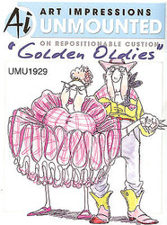 Golden Oldies Dancers Unmounted Rubber Stamp with Cushion AI Art Impressions NEW