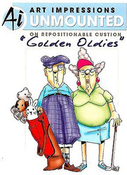 GOLDEN OLDIES Golf Golfers Cling Unmounted Rubber Stamp Art Impressions NEW